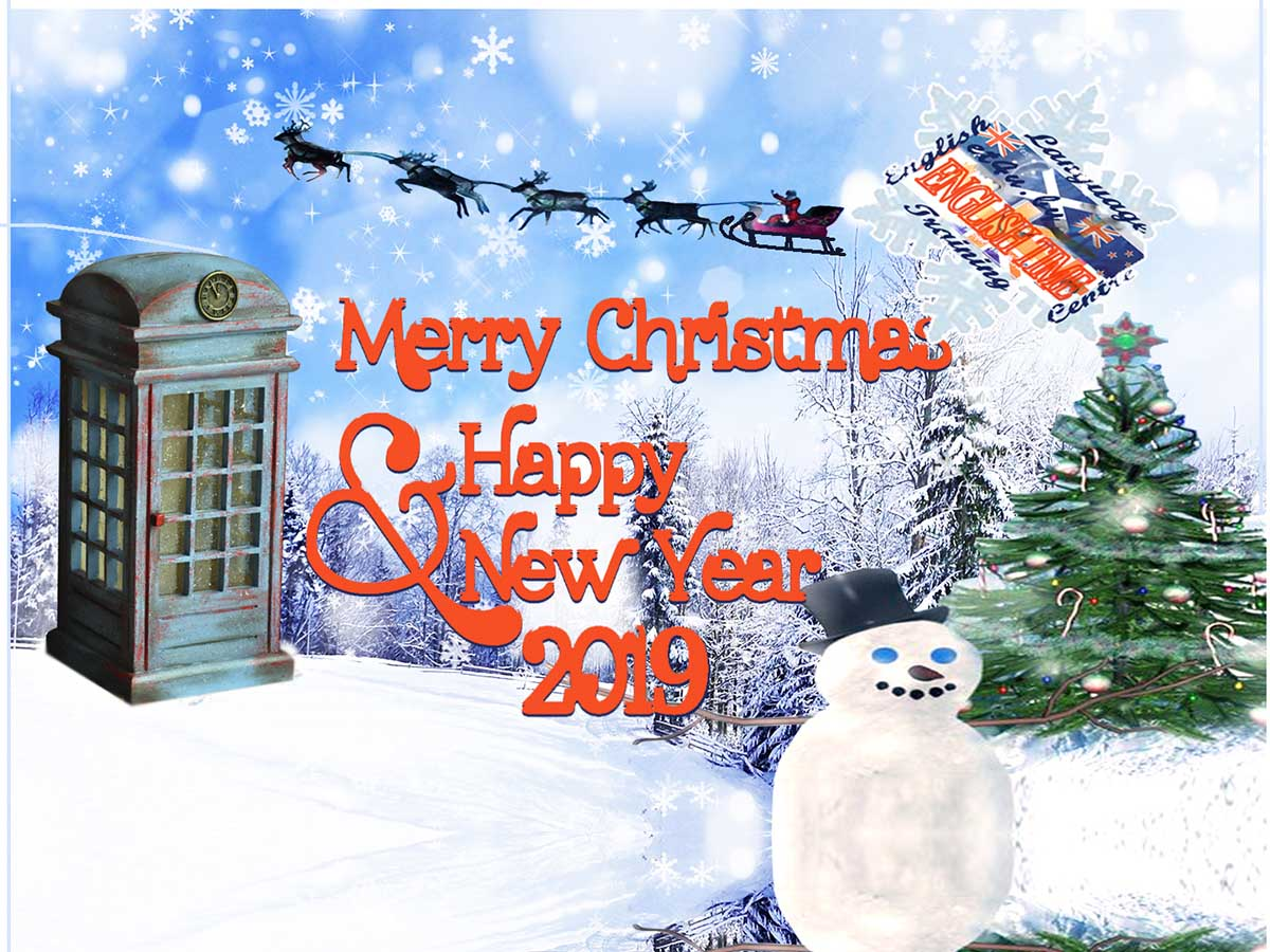 merry Christmas, happy new year, English language courses English Time